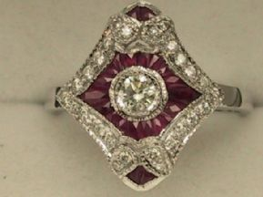 Art-Deco Style 18ct White Gold Ruby & Diamond Cluster Ring UK size P1/2 US 7 3/4